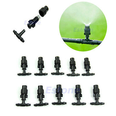 10pcs Garden Plant Adjustable Misting Atomizing Sprinkler Cooling Nozzles Tee