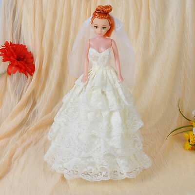 For Barbie Doll's Princess Wedding Party Ball Lace Dress Clothes Gown + Veil