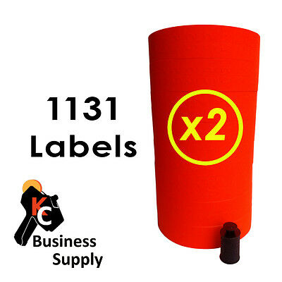 1131 red labels for Monarch price gun 2 sleeves - 16 rolls ink included