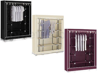 Triple Canvas Clothes Wardrobe Cupboard Hanging Rail Storage With 11 Shelves