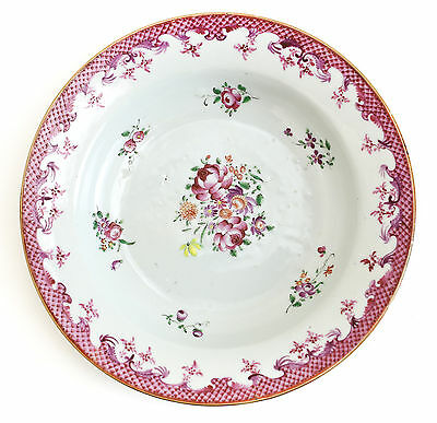 Chinese Export Porcelain Bowl, c1800 Multicolored Soft Magenta Pink Floral