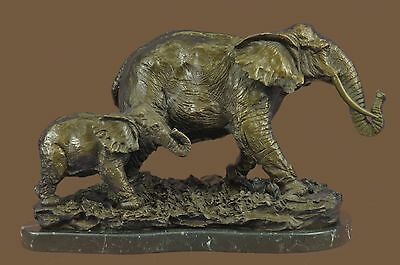 Mother & Baby Elephant Calf Signed Bugatti Hot Cast Bronze Art Sculpture Statue