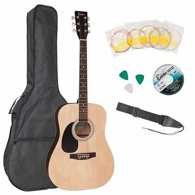 Encore Full Size Left Hand Acoustic Guitar Outfit Bag DVD Strap Strings Natural