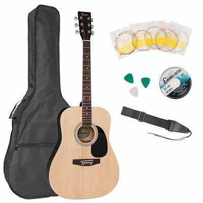 Encore Full Size Acoustic Guitar Outfit Bag, DVD, Strap & Strings Natural Finish