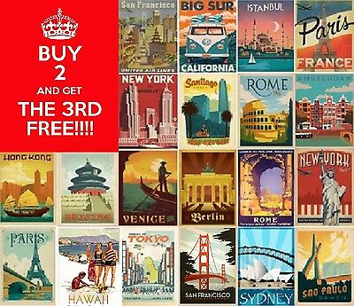 RETRO & VINTAGE CITIES TRAVEL & LANDMARKS A3 OR A4 *CARDBOARD MOUNTED  Art Deco