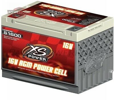 XS POWER S1600 16V AGM Starting Battery Max Amps 2 000A CA: 500A