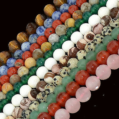 """Natural Multi Colored 4mm Smooth Matte Faceted Gemstone Round Loose Beads 16"""""""
