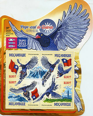 Mozambique 2015 MNH Taiwan Blue Magpie Taipei 2015 Stamp Exhibition 4v M/S Birds
