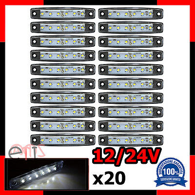 20X LUCE A LED LATERALE 6 LED INGOMBRO 12/24V BIANCO CAMION CAMPER SHASSIS Nuovo