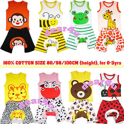 free ship 100% cotton Baby boys girls sets singlet shorts pants pjs 0-3yrs