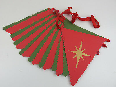 Christmas Star Bunting Banner Garland on Red and Green Card Christmas Decoration