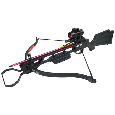 160 lb Black Hunting Crossbow Archery Bow +Red Dot Scope +All Accessories 150
