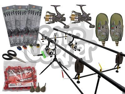 Complete Carp Fishing Set up With Matching Rods Reels & Alarms Plus Tackle NGT