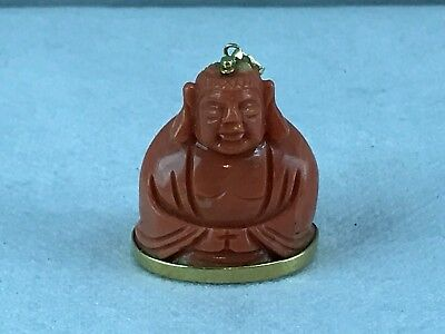 Antique Chinese Buddha Coral and 24k Gold mount Pendent