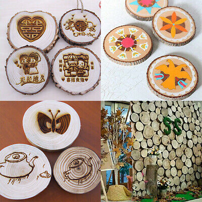Lot Natural Round Wood Disc Slices Circle Shape Rustic Wedding Hobbies Craft DIY