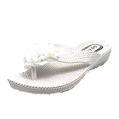 White soft rosette toe flip flops / sandals