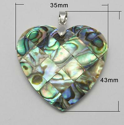 ABALONE SHELL PENDANT OVAL STUNNING UNIQUE 40mm x 31mm