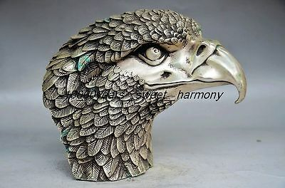 Exquisite Workmanship Chinese Silver Copper Eagle Head Big Statue