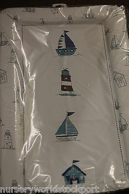 deluxe baby babies changing mat mats white blue nautical lighthouse sailing