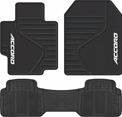 Universal Black Front Rubber Floor Mats All Weather Runner Mat for Honda Accord