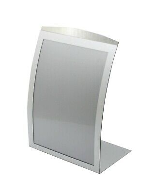 8.5 x 11 Sign Holder for Tabletop, with Magnetic Lens, Curved - Silver