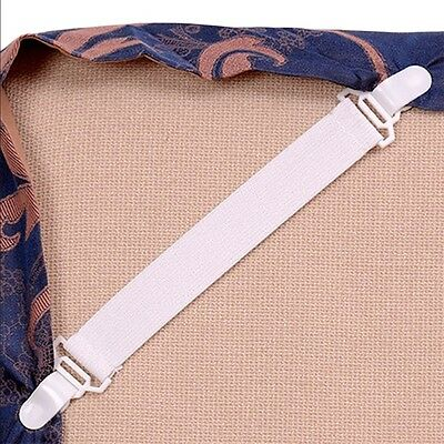4 Bed Sheet Mattress Cover Blankets Grippers Clip Holder Fasteners Set OK