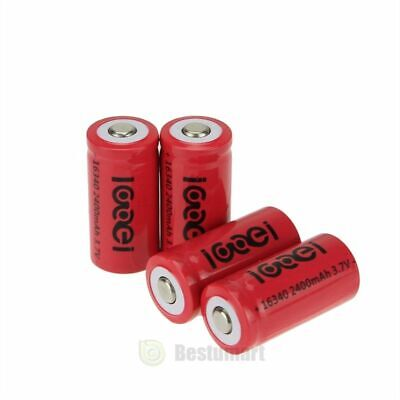 New 4 x 2000Mah 3.7V 16340 Li-ion Rechargeable Battery For LED Flashlight Torch