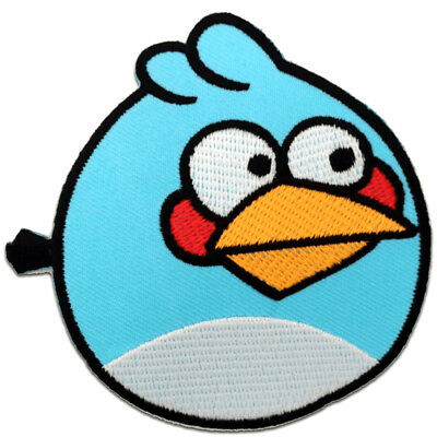 Ecusson - Angry Bird - bleu - 8,0x7,5cm - patches brode appliques thermocollant