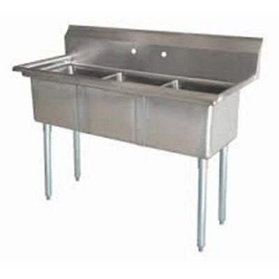 Three Compartment NSF Comercial Sink Size Bowl 20 x 20