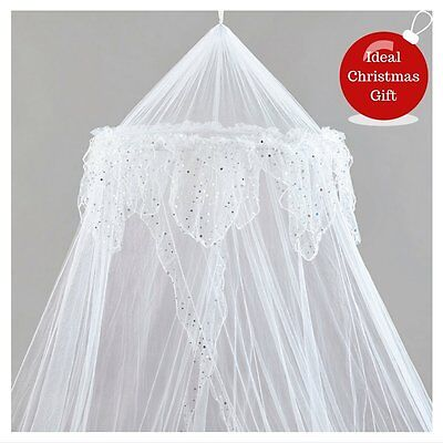 Large White Bed Canopy Protection Decoration Mosquito Net Bedroom King Size