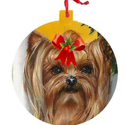 Yorkshire Terrier ORNAMENT CHRISTMAS gold painting Dog bow blue ART FREE 2016