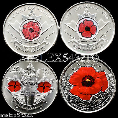 """🇨🇦Canada 2004-2008-2010-2015 Remembrance Day """"Poppy"""" 25 Cent Set Unc (4 Coins)"""