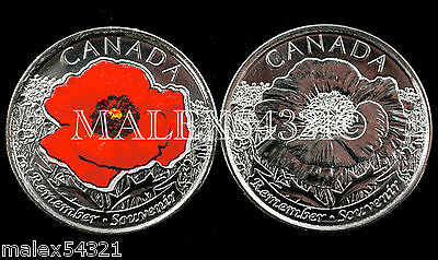 """🇨🇦Canada 2015 Remembrance Day """"Poppy"""" 25 Cents Set Uncirculated (2 Coins)"""