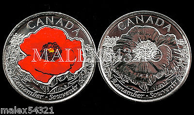 """Canada 2015 Remembrance Day """"poppy"""" Set Uncirculated (2 Coins)"""