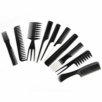 10 in 1 nero stilista professionale parrucchiere pettine Kit Set strumento del b