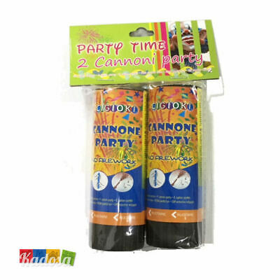 2 pz Mini Cannone PARTY 10,5 cm Spara CORIANDOLI Multicolor Sparacoriandoli Tubo