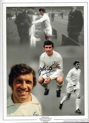 Signed Johnny Giles Leeds United Autograph Photo Montage 1972 FA Cup Winner