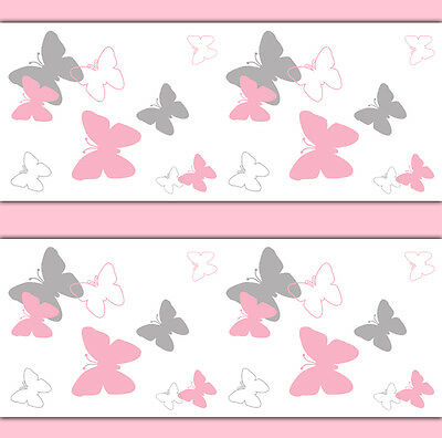 Pink Grey Gray Butterfly Wallpaper Border Wall Art Decals Girl Nursery Stickers