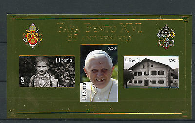 Liberia 2012 MNH Pope Benedict XVI 85th Birthday Papa Bento XVI 3v Gold Stamp