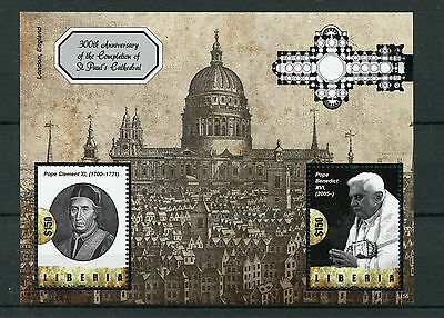 Liberia 2011 MNH St Paul's Cathedral Completion 300th Anniv 2v S/S Pope Benedict