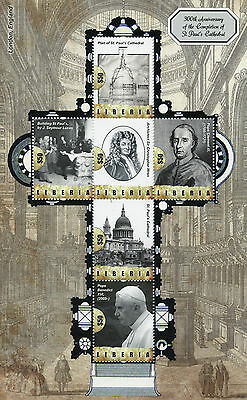 Liberia 2011 MNH St Pauls Cathedral Completion 300th Ann 6v M/S Christopher Wren
