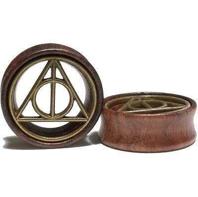 Pair of Wood Ear Tunnels w/Brass insert Gauges Plugs Earrings - Deathly Hallows