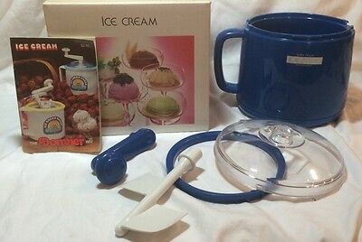Blue Donvier Super Deluxe Ice Cream Maker 1qt Complete w Instructions