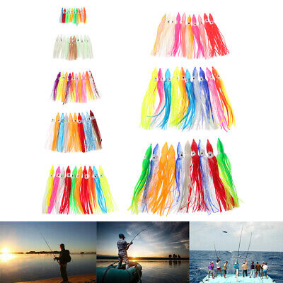 Lot 10Pcs Soft Octopus Squid Skirts Fishing Lure 8 Sizes 4 5 6 9 10 14 15 18 cm