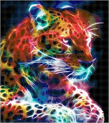 Cross Stitch Chart Fractal Leopard 1 Aida Needlework Picture Craft Design Hobby