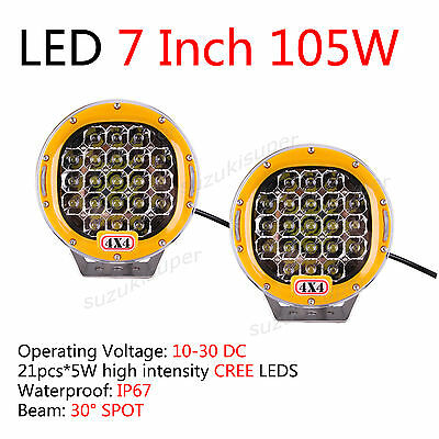 7 Inch 105W Spot Beam Work Lamp Offroad 4WD CREE Spot Light Pair
