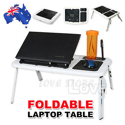Lap Desk Foldable Laptop Table e-Table Bed with USB Cooling Fans Stand TV Tray