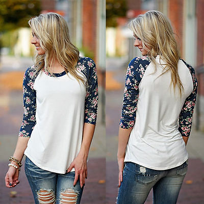 Sexy Womens 3/4 Long Sleeve Loose Floral Print Cotton Casual Tops T-Shirt Blouse
