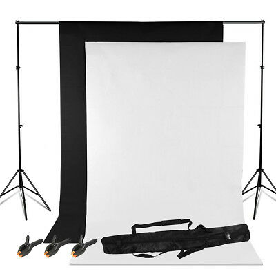 White & Black Backdrop Photo Studio Background Support Stand Kit Set lighting