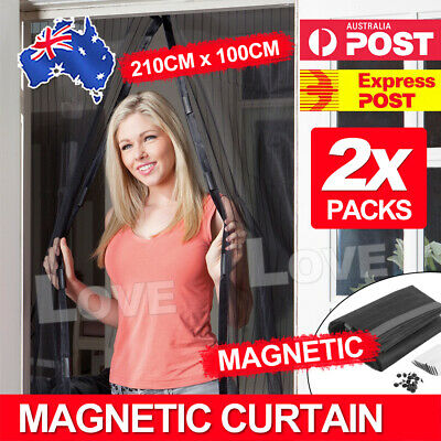 2 x Magnetic Door Mesh Black Fly Screen Magic Magna Mosquito Bug Curtain